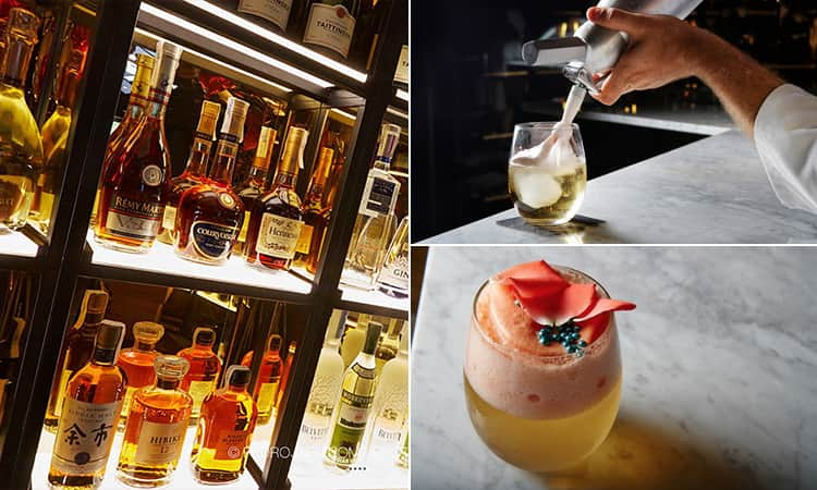 Three images of Freudenhaus, Marbella - including one of spirits on a shelf and two of cocktails