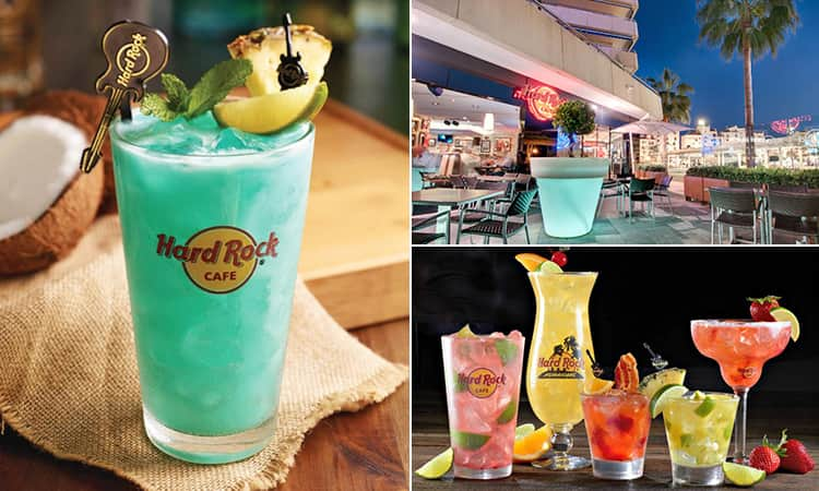 Three images of Hard Rock Cafe, Marbella - including two images of cocktails and one of the outdoor terrace