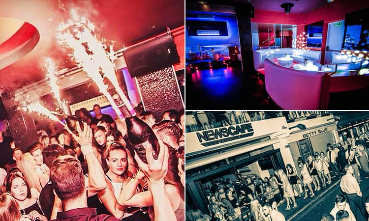 Three images of News Cafe, Marbella - including one of the interior and two of the crowds in the bar