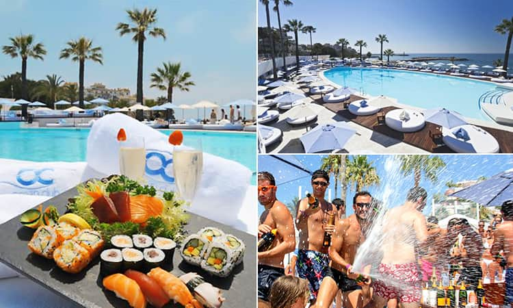 Three images of Ocean Club, Marbella - including one of sushi, one of the pool and one of a champagne spray party
