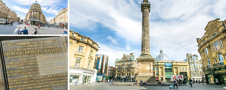 Three tiled images of Grey's monument in Newcastle