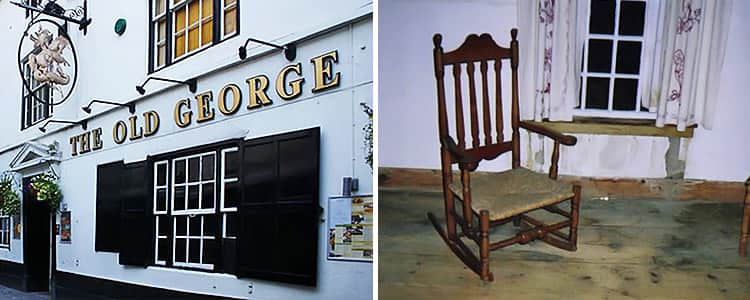 Two tiled images of The Old George pub and the haunted chair of Charles I