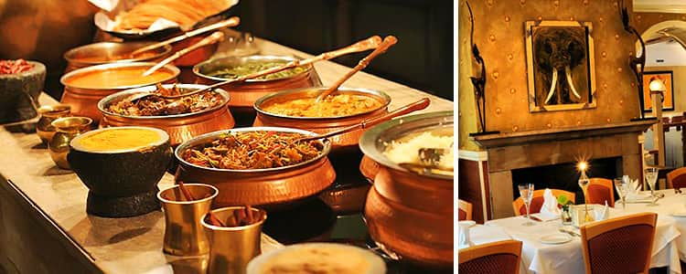 Two tiled images, one of curry in dishes and one of Indian restaurant