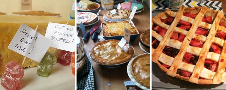 Three tiled images of pie from High Pie Society in Newcastle