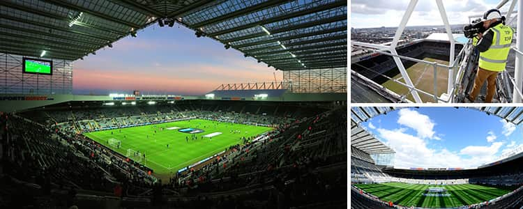 Three tiled images of Newcastle's St James' Park and the view from the rooftop