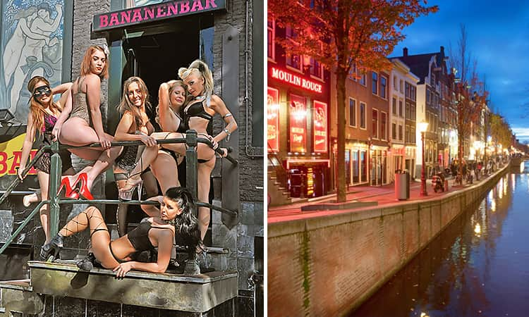 Two tiled images - including one of strippers outside the Banana Bar, and one of the red light district at night