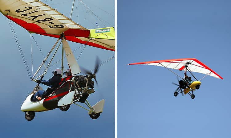 Two tiled images of Microlight aircrafts