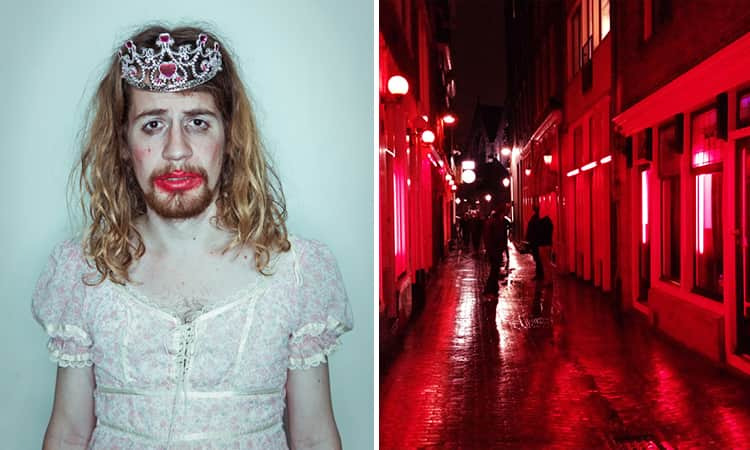 Two tiled images of a man dressed up and wearing makeup, and one of the red light district