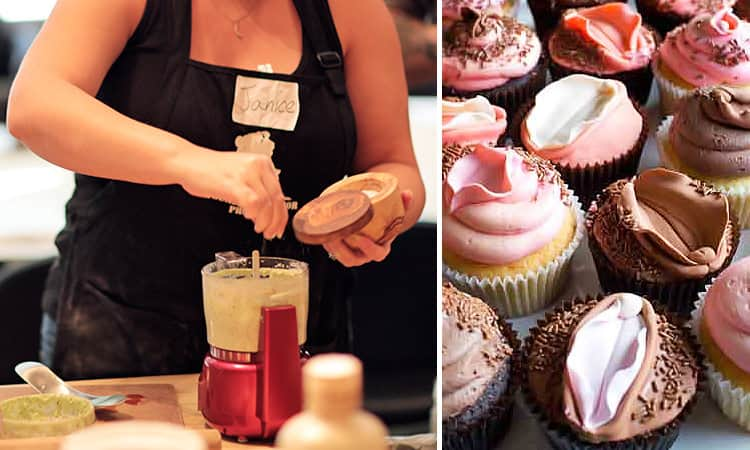 Two tiled images of vagina cupcakes and a woman baking