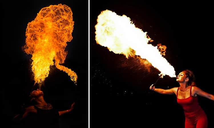 Two tiled images of people firebreathing