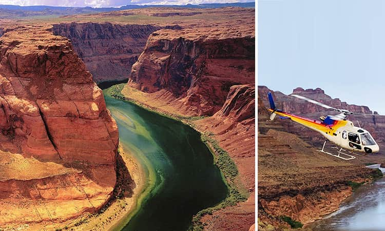 Two tiled images of the Grand Canyon and the helicopter