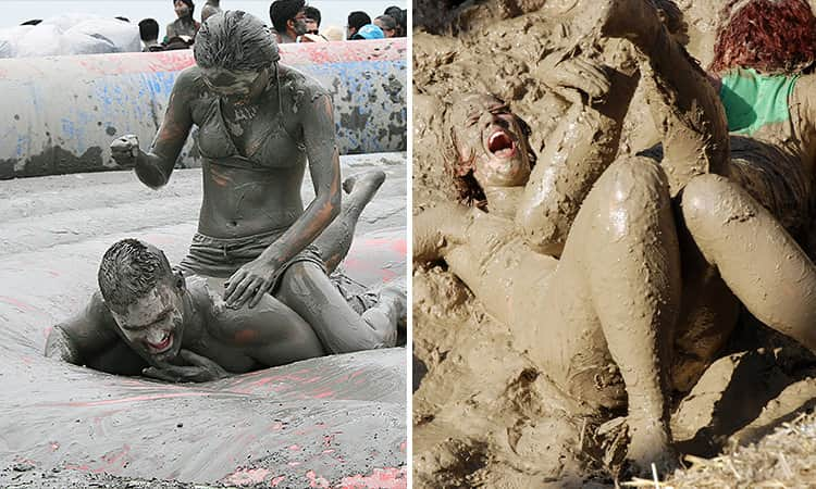 Two tiled images of people mud wrestling