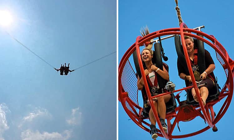 Two tiled images of people using the Extreme Slingshot