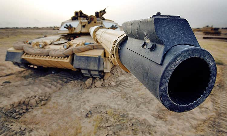 A tank with the gun barrel close to camera
