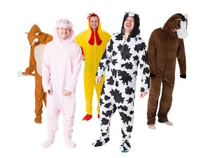 Five men in farmyard onesies