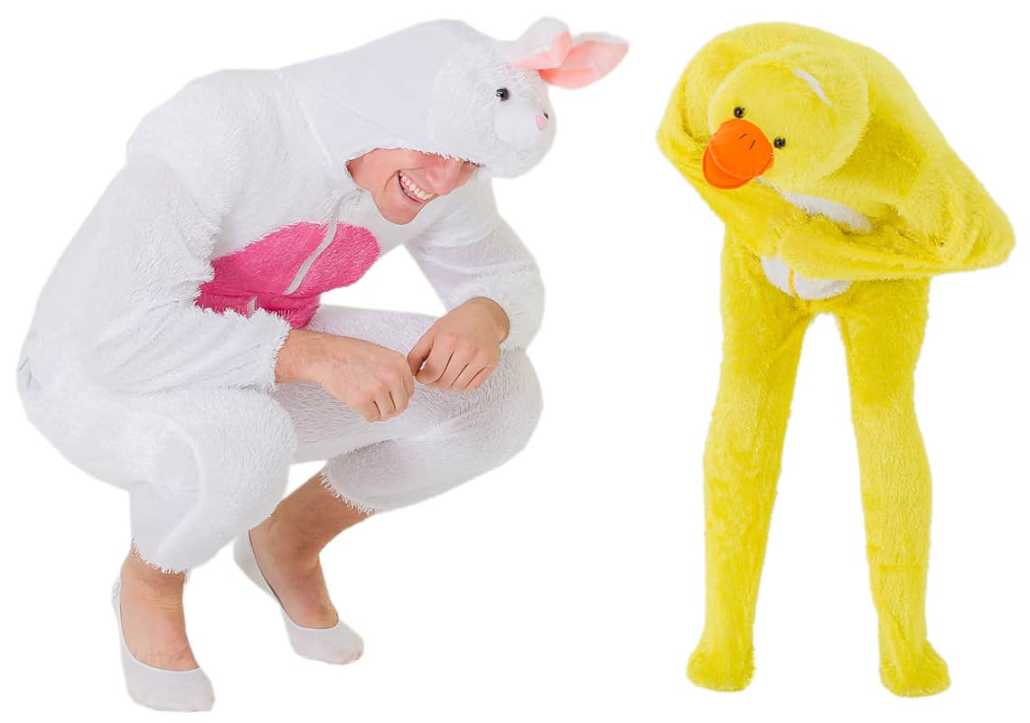 Two men dressed as a rabbit and a duck, both bent over laughing