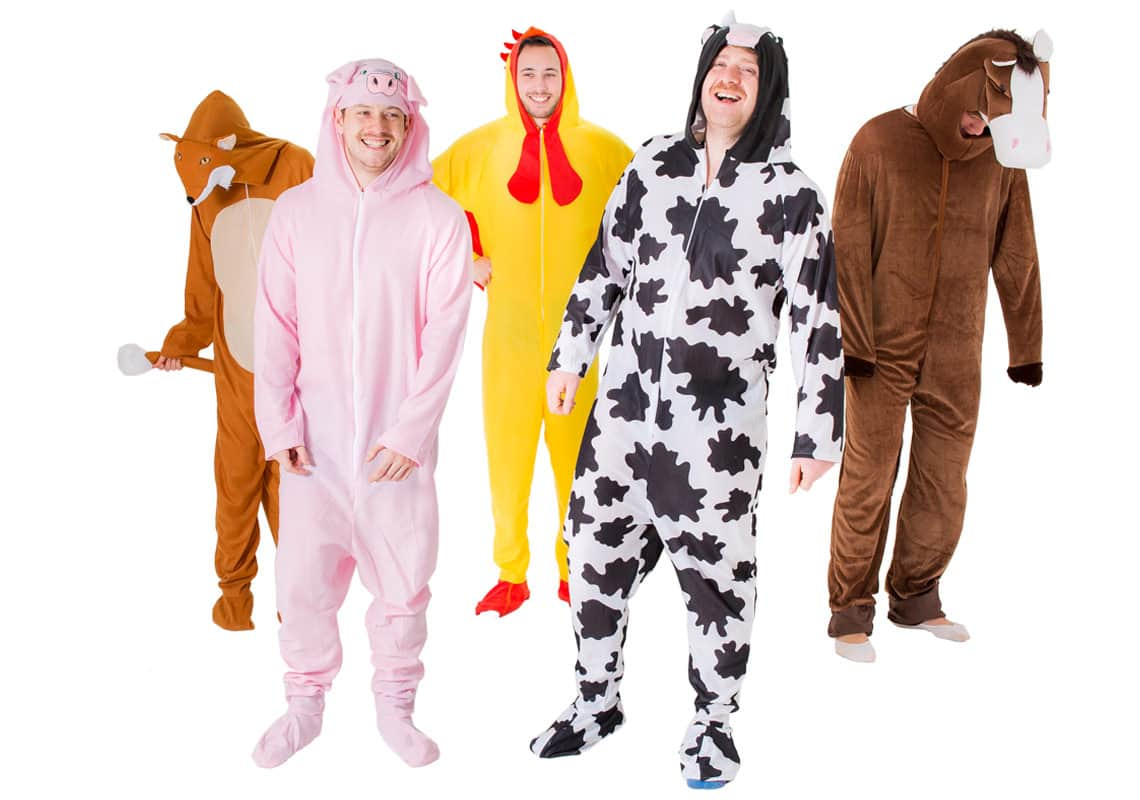 a stag group dressed as farmyard animals
