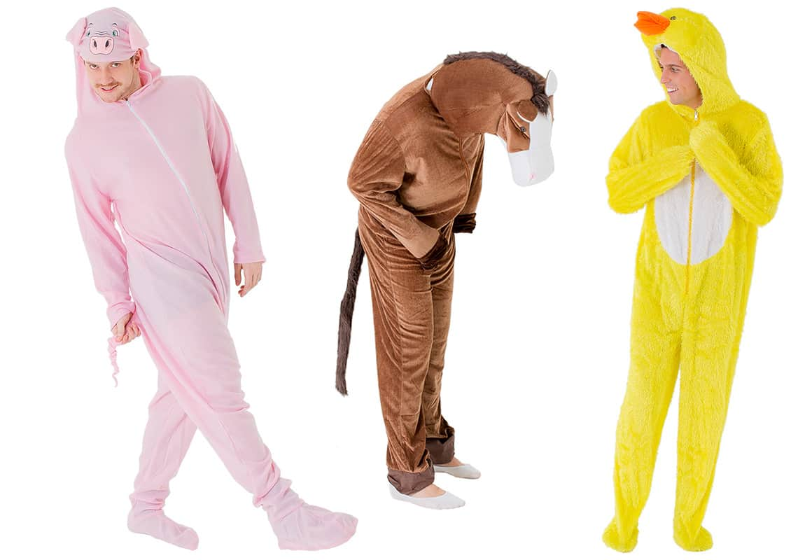 Three men in farm yard onesies