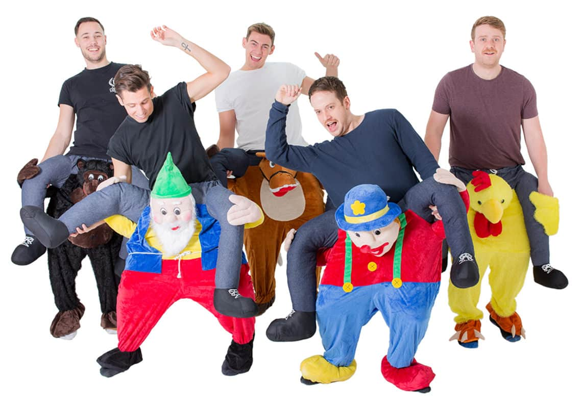 five men in carry me costumes
