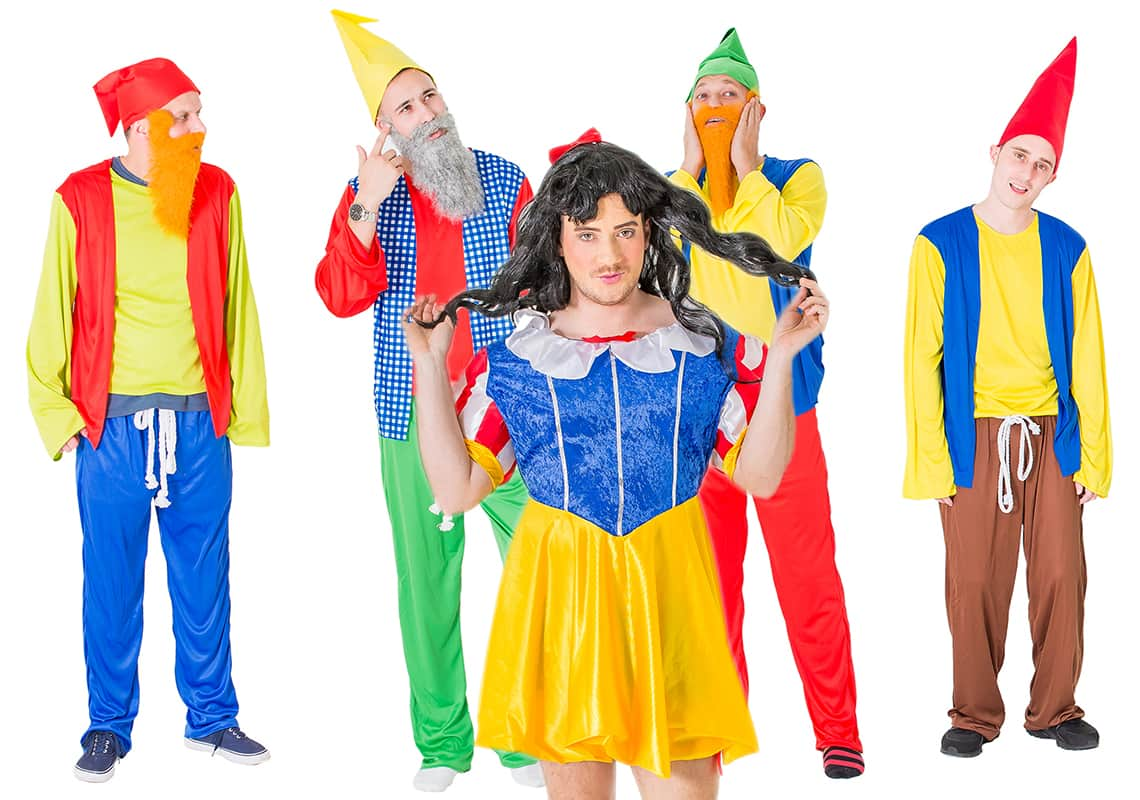 The theme includes a drag Snow White outfit.