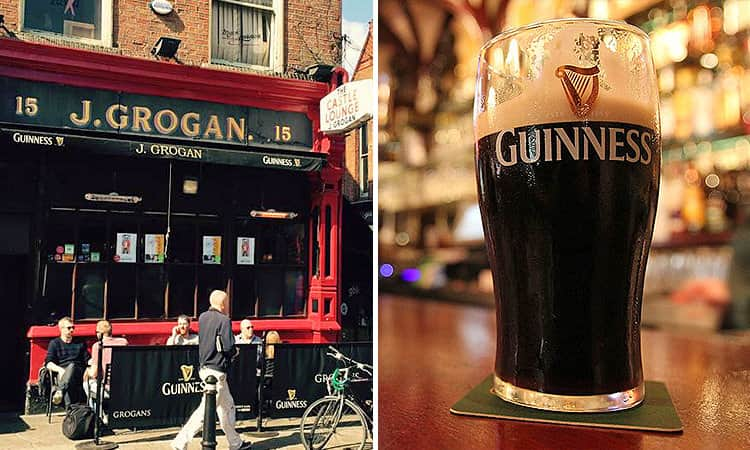 The exterior of Grogan's Castle Lounge and a pint of Guinness