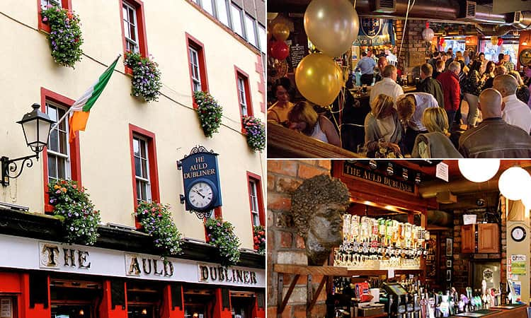 Three tiled images, one of the exterior of The Auld Dubliner, one of the bar and one of people drinking inside amidst balloons and party streamers