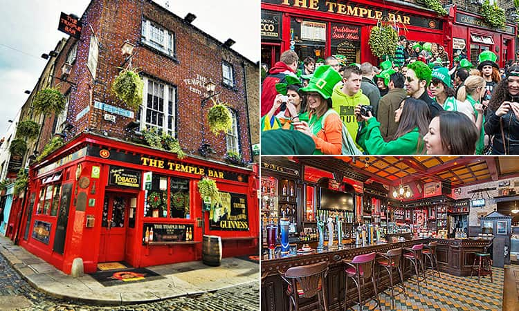 Three tiled images, one of people partying outside The Temple Bar pub, and one of the interior decor and bar area, and one of the exteriors of the legendary Dublin pub