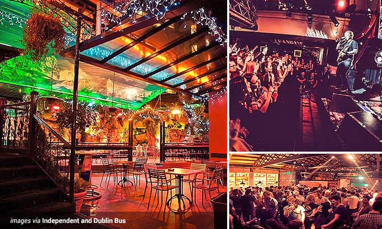 Three tiled images of bars in Dublin - featuring one of the Dtwo interior, Ed Sheeran performing at Whelan's bar, as well as a room full of people at Whelan's