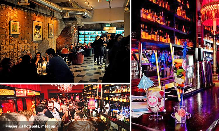 Three tiled images of bars in Dublin - including the interior of Chelsea Drugstore, Lillie's Bordello and one image of two cocktails on a bar top