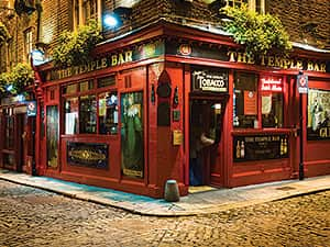 The exterior of the red Temple Bar pub, in Dublin