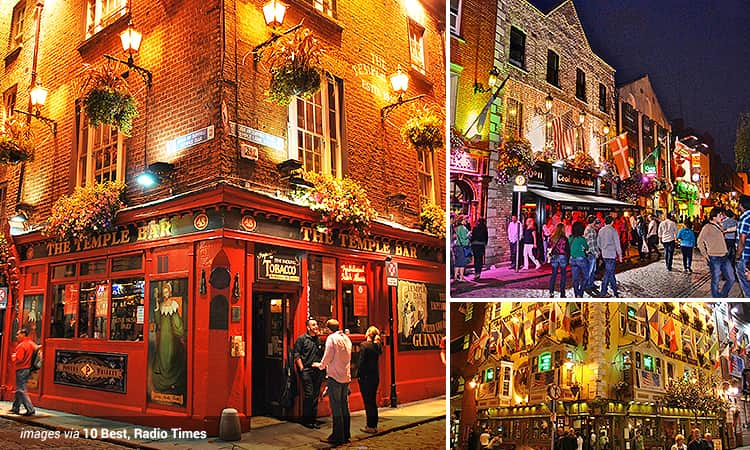 Three tiled images of Temple Bar, Dublin - including one of Temple Bar pub, Oliver St John Gogartys and a street in the Temple Bar