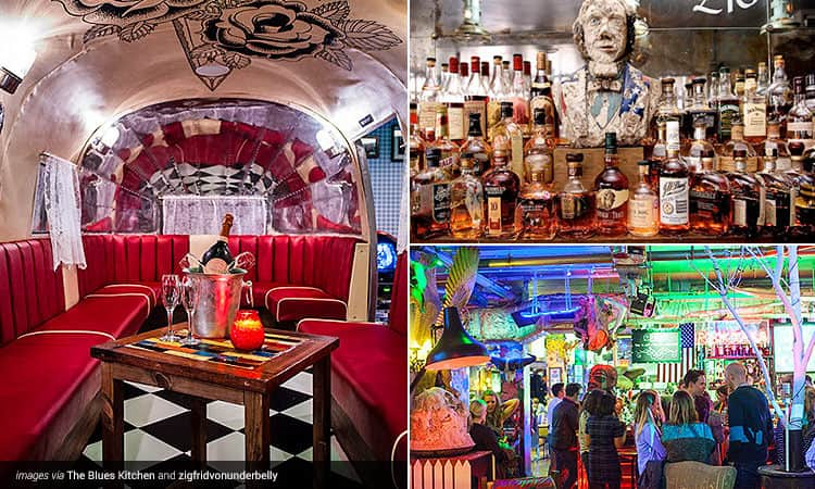 Three tiled images, one of the interiors of The Blues Kitchen, one of a bar with lots of spirit bottles, and one of the interiors of Zigfrid Von Underbelly