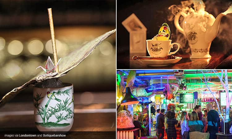 Three tiled images, two of quirky cocktails in The Night Jar and one of the interiors of Zigfrid Von Underbelly