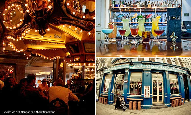 Three tiled images, one of the interiors of NOLA, one of cocktails lined up on NOLA's bar and one of the exteriors of The Shoreditch