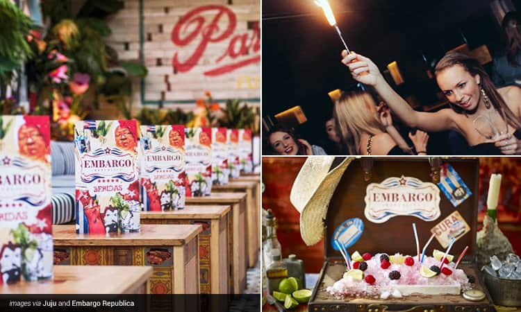 Three tiled images - including drinks menus on wooden tables, a cocktail served in a wooden chest with embargo written on it, and a woman holding a sparkler in a club