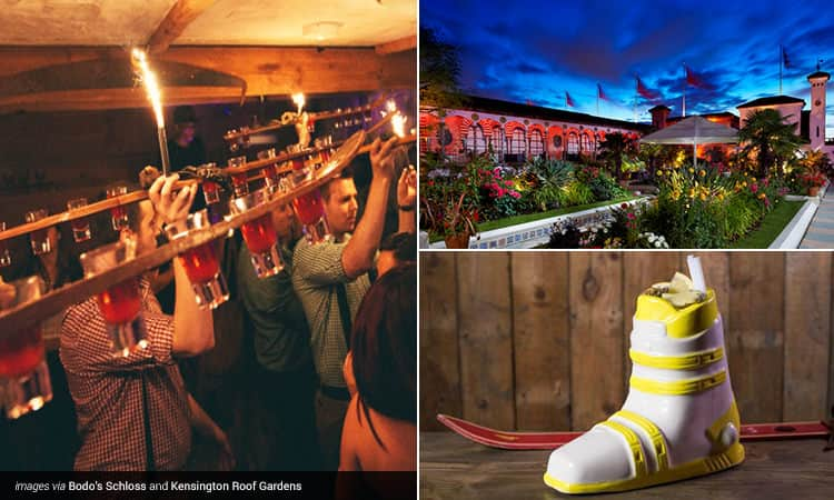 Three tiled images - featuring the Kensington Roof Gardens at night, a yellow ski boot cocktail from Bodo's Schloss and men in checked shirts holding a wooden rack filled with shots