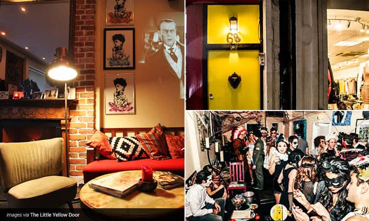 Three tiled images - featuring the Little Yellow door bar's sofas and chairs, people celebrating in the bar, and the famous yellow door to get into the venue