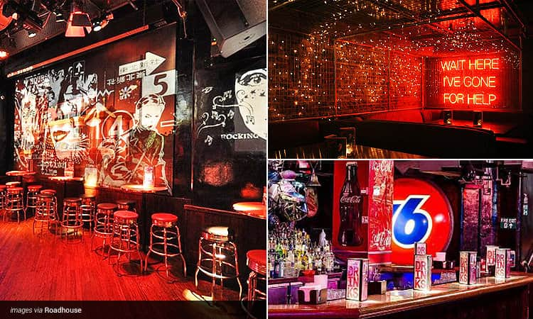 Three tiled images - including an illuminated red sign on a brick wall, the Roadhouse London bar with drinks menus on top, and stools lined up alongside a dancefloor at Roadhouse
