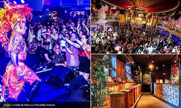 Three tiled images - including a man in feathered headwear and carnival clothing performing to a crowd on stage, the colourful bar stools and bar in Piccadilly Institute and a crowd of people on a dancefloor