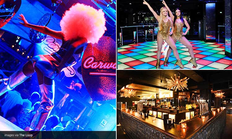 Three tiled images - including a woman in silver go go boots and afro dancing on stage, two women in gold leotards posing on a disco dancefloor and the black bar at The Loop, London