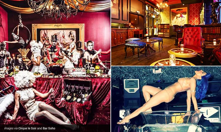 Three tiled images - including a crowd of people dressed as circus / showgirl acts and posing above a red table adorned with food, a semi-naked woman posing above a giant wine glass and the interior of a room in Bar Soho