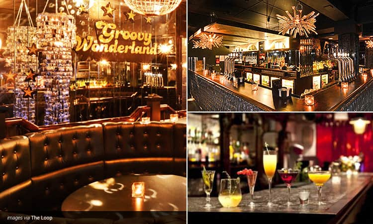 Three tiled images - including a leather booth with the words 'Groovy Wonderland' behind, cocktails lined up on a bar counter, and the bar at The Loop