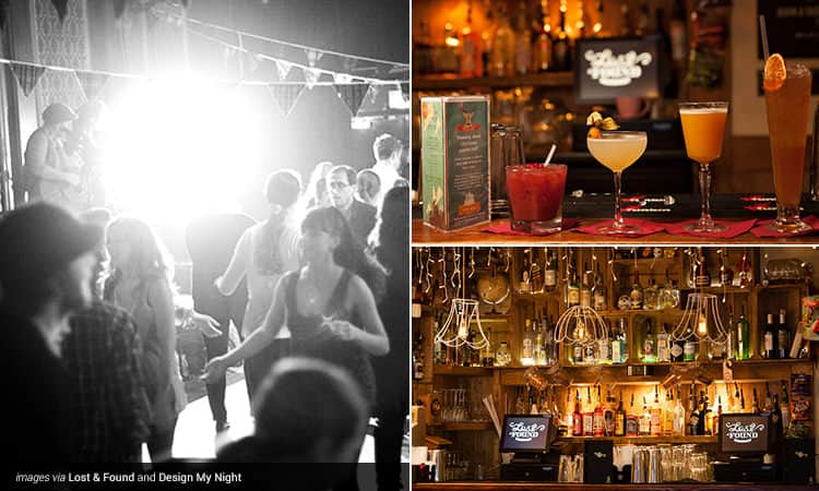 Three tiled images - including a black and white image of people dancing, one of four cocktails lined up on a bar, and one of the bar and cashier tills at Lost and Found bar, London