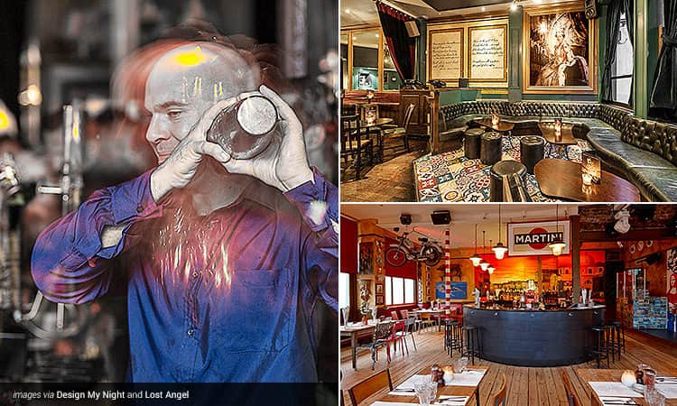 Three tiled images - including a bartender mixing a cocktail, the seating area and tables at Lost Angel, London, and the bar and tables at Bunga Bunga