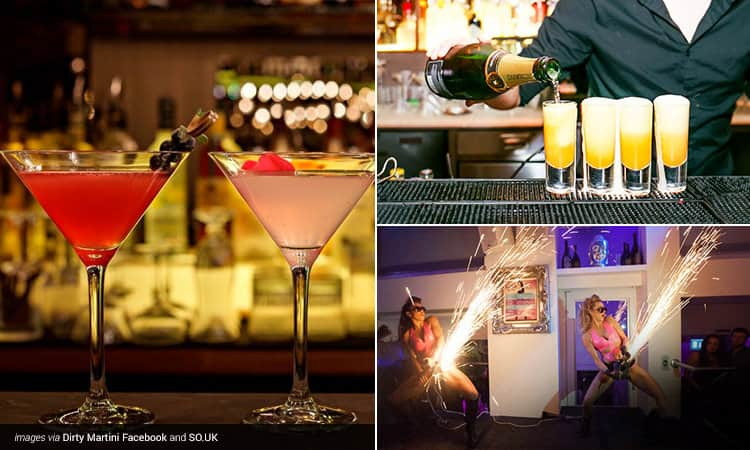 Three tiled images - including two cocktails in martini glasses, a bartender pouring champagne into four yellow cocktails, and two women making sparks on stage