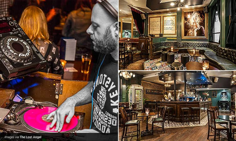 Three tiled images - including one of a DJ spinning a pink record, one of the seating area at Lost Angel, London, and another image of the tables and chairs at Lost Angel