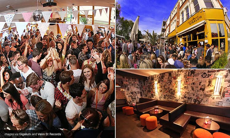 Three tiled images - including one of people celebrating inside a bar with bunting above them, a group of people outside Gigalum bar during the day, and one of the seating area in Venn St Records, London