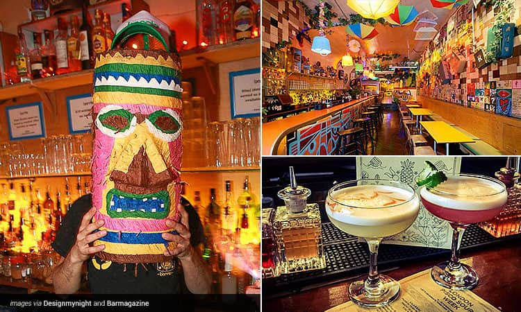 Three tiled images - one of a barman holding a mask to his face, one of the interiors of The Barrio Angel and one of two cocktails