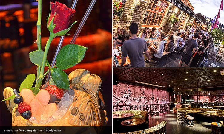 Three tiled images - one of a Valentine's cocktail, the exterior of a Camden Town bar and the interiors of a Camden club