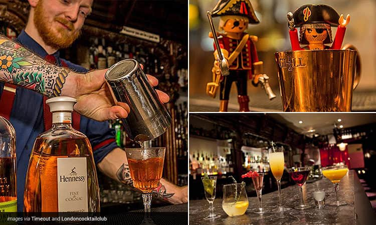 Three tiled images - one of a man pouring a cocktail, and two of example cocktails from the Angel and Islington bars